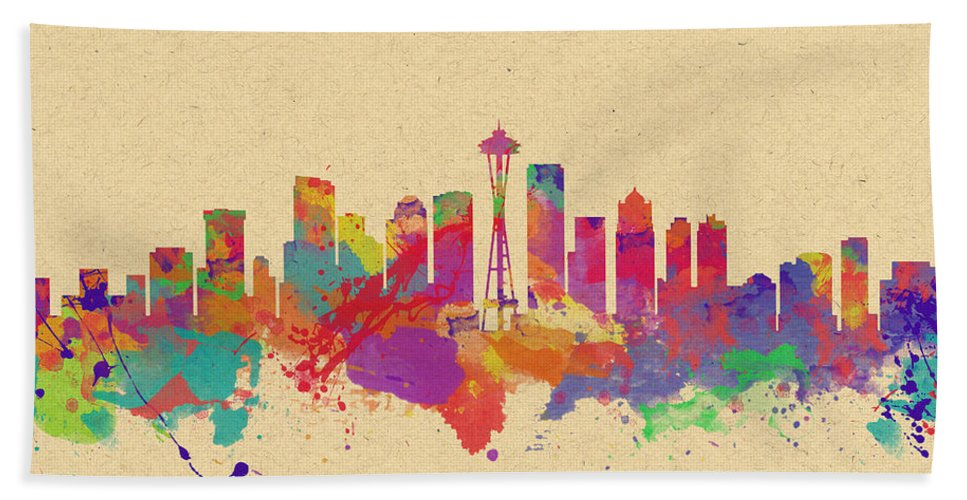 Seattle Hand Towel featuring the photograph Skyline Of Seattle Usa by Chris Smith