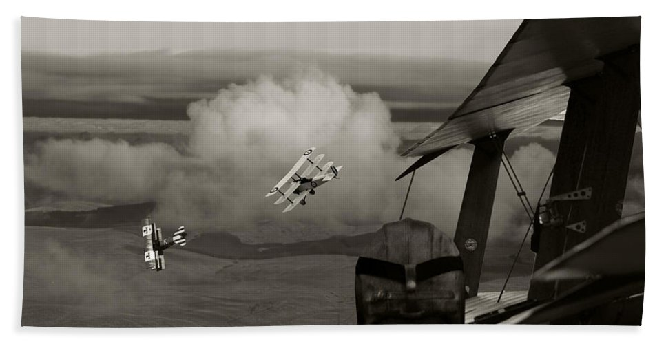 Aircraft Bath Sheet featuring the digital art Sopwith - 'overwatch' by Pat Speirs