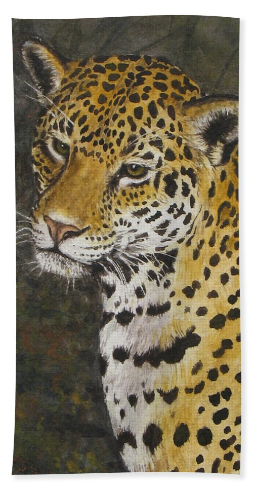 Wildlife Bath Sheet featuring the painting South American Jaguar by Elaine Booth-Kallweit