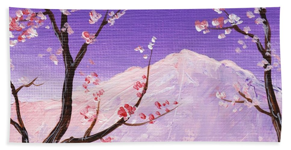 Malakhova Hand Towel featuring the painting Spring Will Come by Anastasiya Malakhova