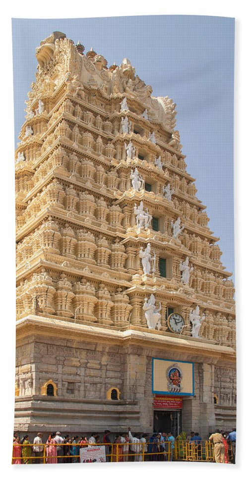 India Hand Towel featuring the digital art Sri Chamundeswari Temple by Carol Ailles