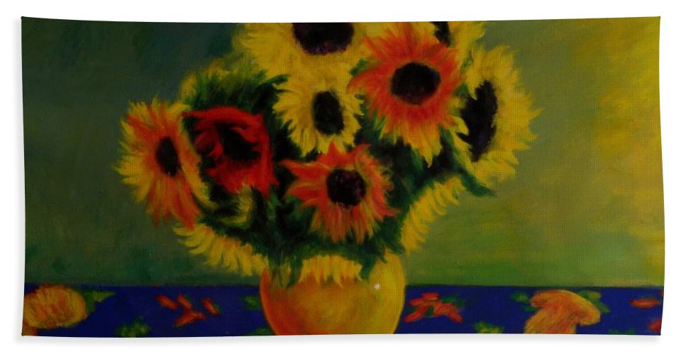 Summer Sunflowers Impressionist Oilpaintings Flowerpaintings Sunflowers Flowers Impressionism Colorful Bath Sheet featuring the painting Summer Sunflowers by George Tuffy