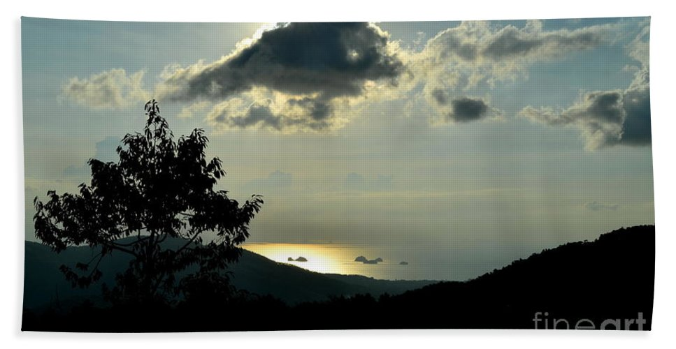Michelle Meenawong Bath Sheet featuring the photograph Sunset At Five Islands by Michelle Meenawong