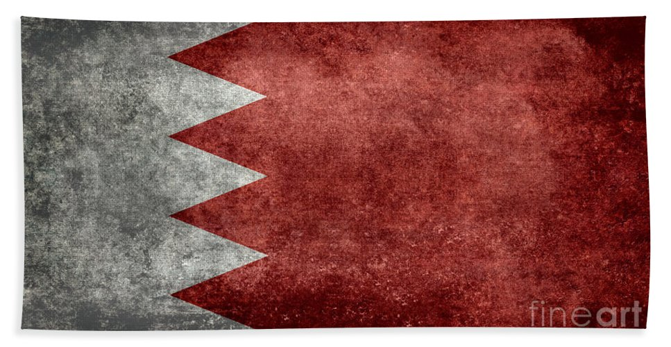 Red Hand Towel featuring the digital art The Flag Of The Kingdom Of Bahrain Vintage Version by Bruce Stanfield