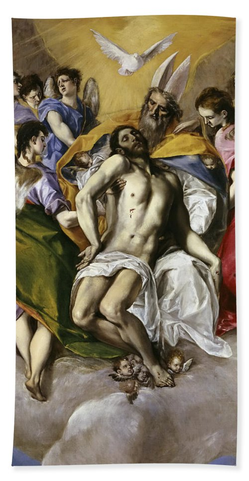 El Greco Hand Towel featuring the painting The Holy Trinity by El Greco