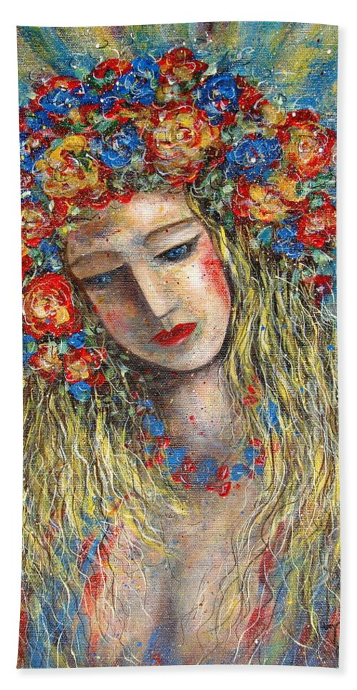 Painting Hand Towel featuring the painting The Loving Angel by Natalie Holland