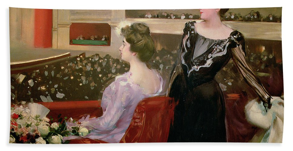 Theater; Audience; Entertainment; Seated; Flower; Bouquet; Female; Stalls; Performance Hand Towel featuring the painting The Lyceum by Ramon Casas i Carbo