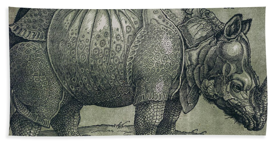 Woodprint; Rhino; Northern Renaissance; Wild; Animal; Mammal; Horn; Endangered Species; Print; Zoology Bath Sheet featuring the drawing The Rhinoceros by Albrecht Durer