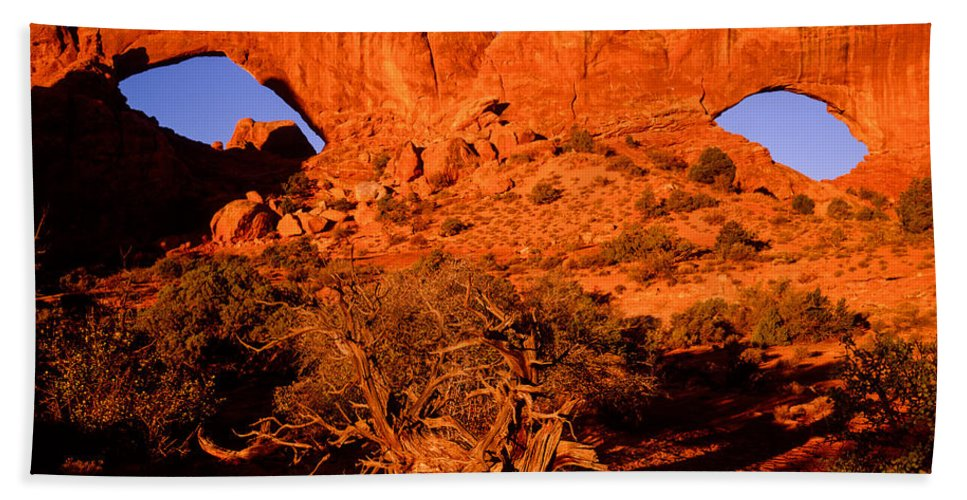 Arches National Park Bath Sheet featuring the photograph The Windows Sunrise by Tracy Knauer