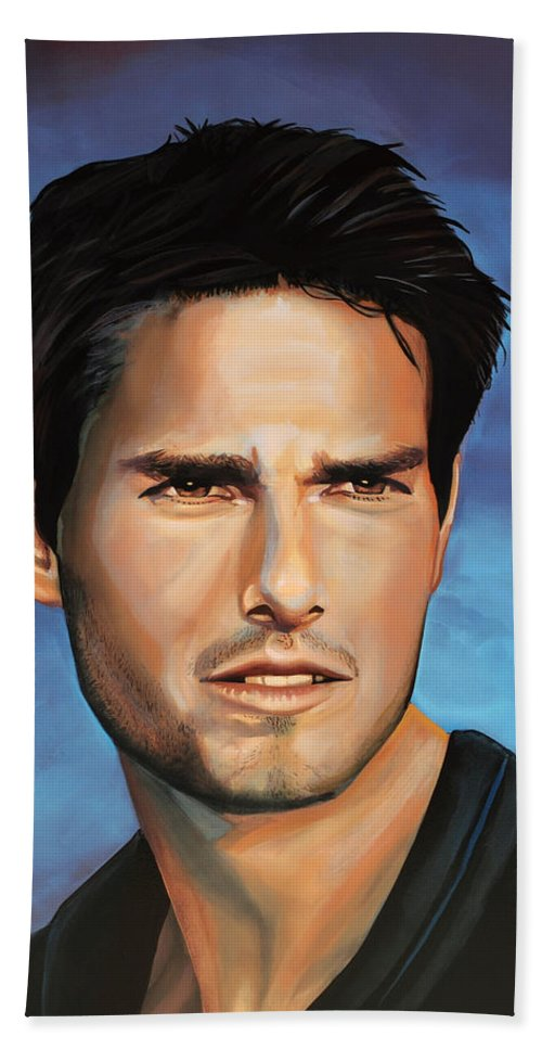 Tom Cruise Hand Towel featuring the painting Tom Cruise by Paul Meijering