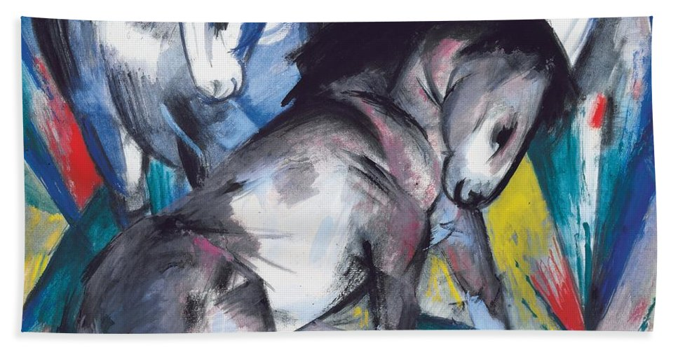 Blaue Reiter; Expressionist; German Expressionist; Two; 2; Horse; Horses; Animal; Animals; Futurist; Blue; Abstract; Dynamic; Bold; Colourful; Stylised; Angular; Farm Animal; Farm Animals Bath Sheet featuring the painting Two Horses by Franz Marc
