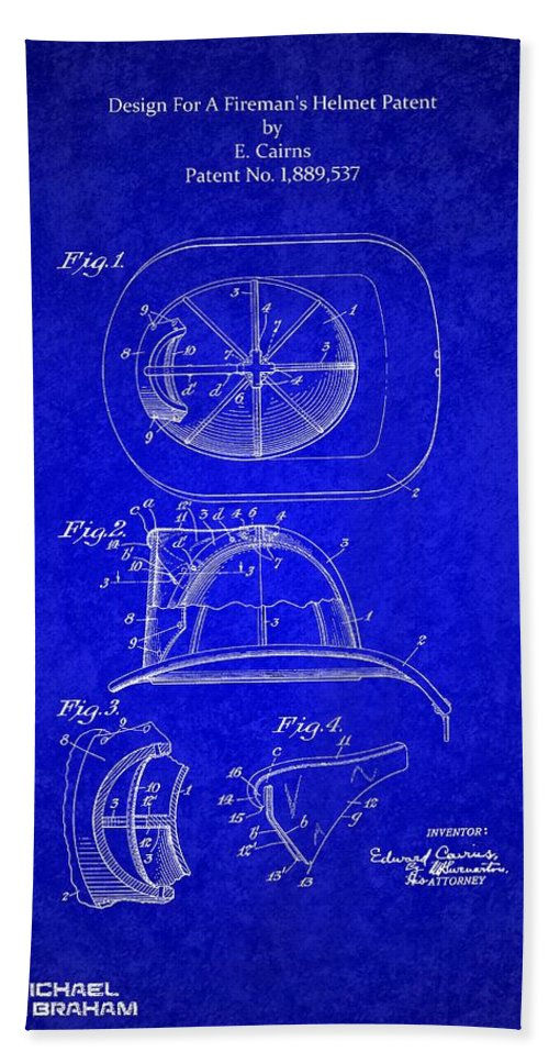 Cairns Bath Sheet featuring the photograph Vintage 1932 Firemans Helmet Patent by Doc Braham