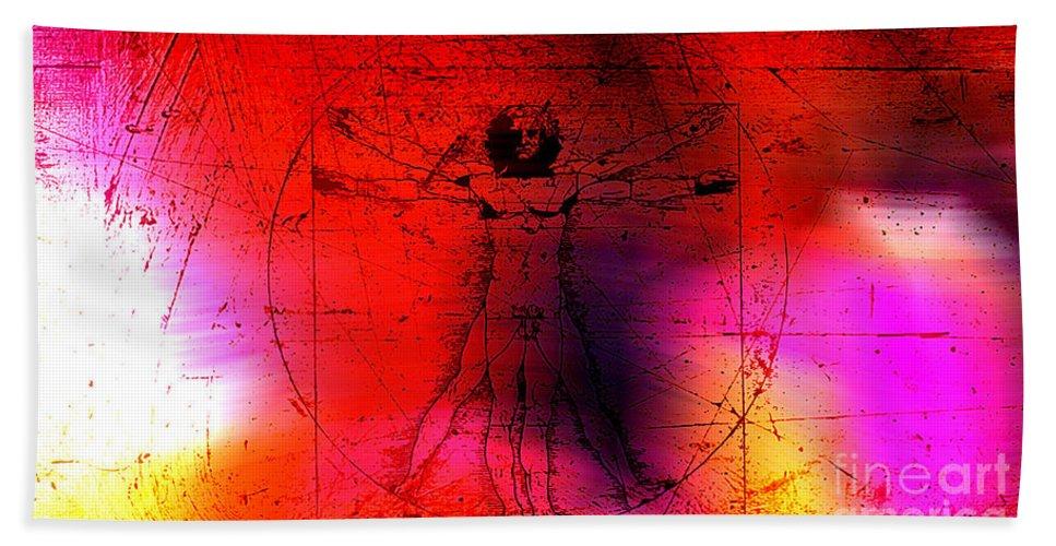 Vitruvian Man Drawings Mixed Media Hand Towel featuring the mixed media Vitruvian Man by Marvin Blaine