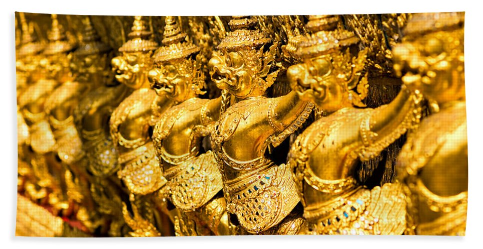 Ancient Hand Towel featuring the photograph Wat Phra Kaeo Temple - Bangkok - Thailand. by Luciano Mortula