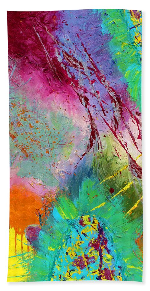 Abstract Paintings Hand Towel featuring the painting Modern Abstract Diptych Part 1 by Julia Apostolova