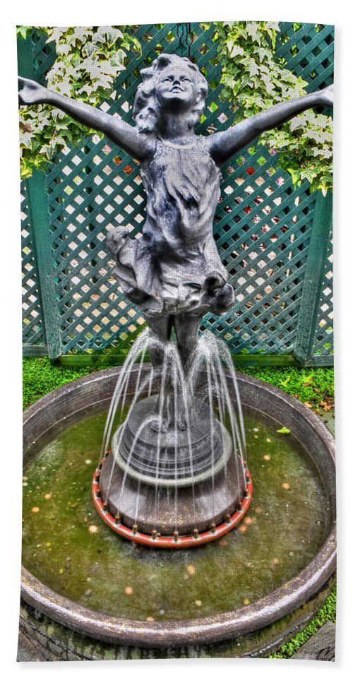 Buffalo Botanical Gardens Hand Towel featuring the photograph 001 Fountain Buffalo Botanical Gardens Series by Michael Frank Jr