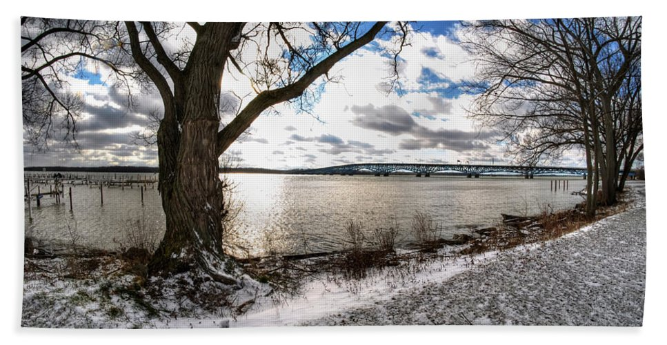 Hand Towel featuring the photograph 0010 Grand Island Bridge Series by Michael Frank Jr