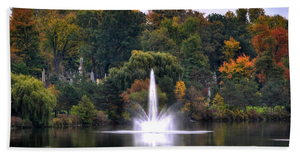 Autumn Bath Sheet featuring the photograph 0010 Hoyt Lake Autumn 2013 by Michael Frank Jr