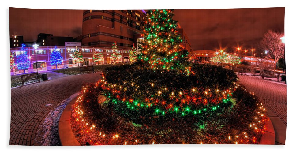Hand Towel featuring the photograph 0011 Christmas Light Show At Roswell Series by Michael Frank Jr