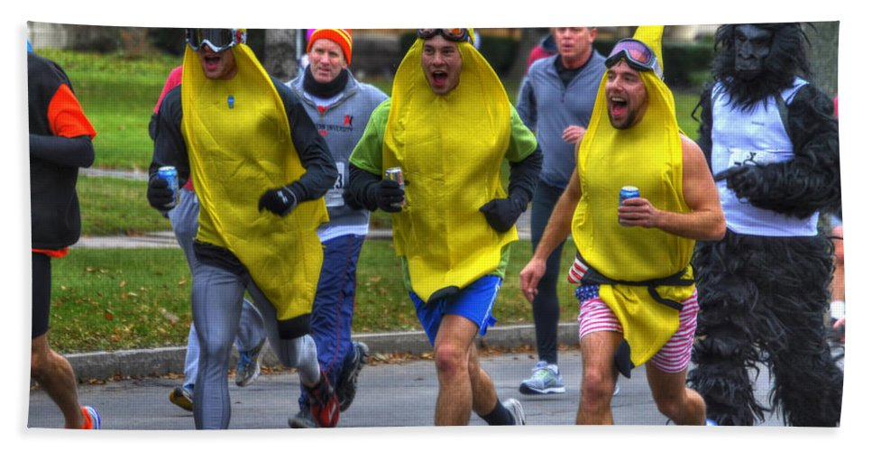 Michael Frank Jr Bath Sheet featuring the photograph 0011 Turkey Trot 2014 by Michael Frank Jr