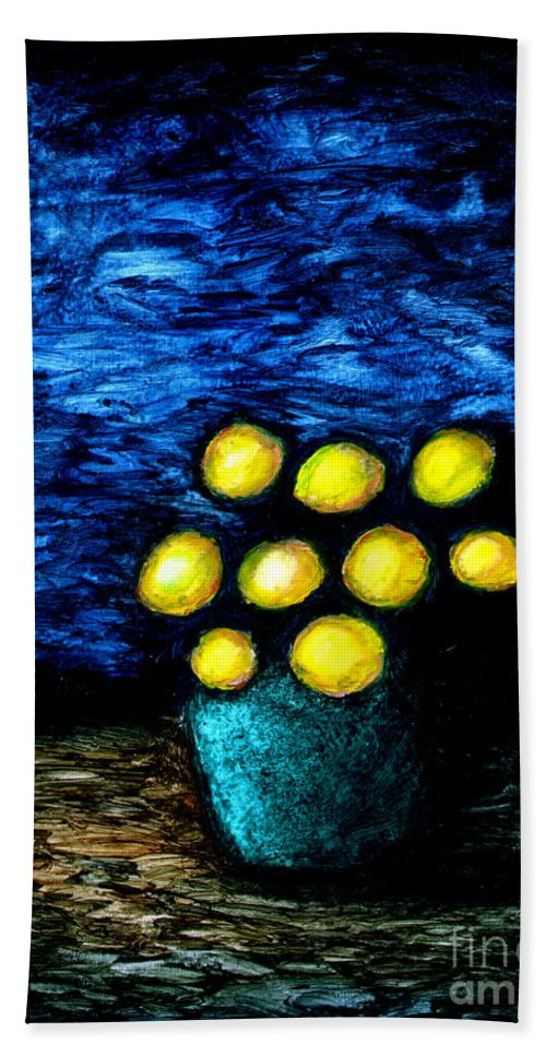 Still Life Hand Towel featuring the painting Earthshine by Brian Bingham