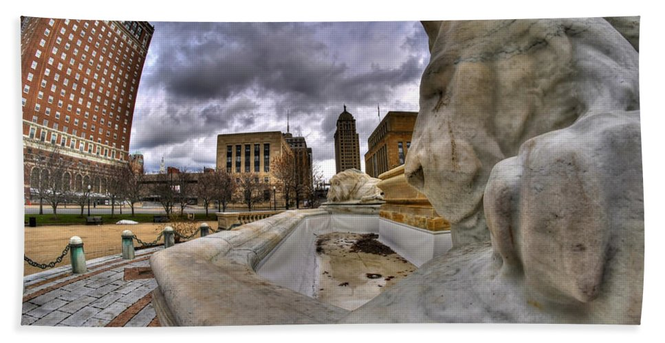 Michael Frank Jr Bath Sheet featuring the photograph 0017 Lions At The Square by Michael Frank Jr