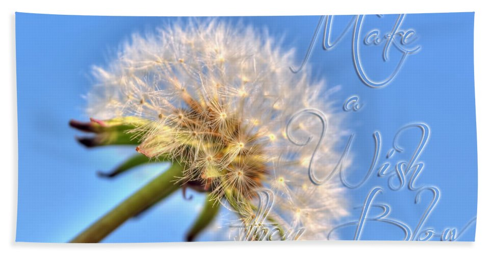 Taraxacum Hand Towel featuring the photograph 003 Make A Wish With Text by Michael Frank Jr