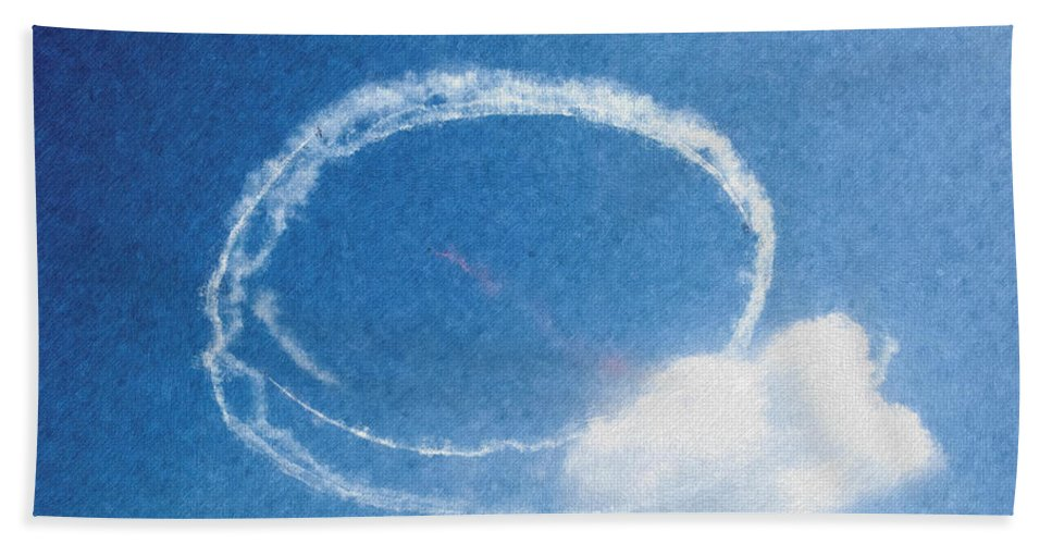 Chicago Hand Towel featuring the digital art 0036 - Air Show - Pastel Chalk by David Lange