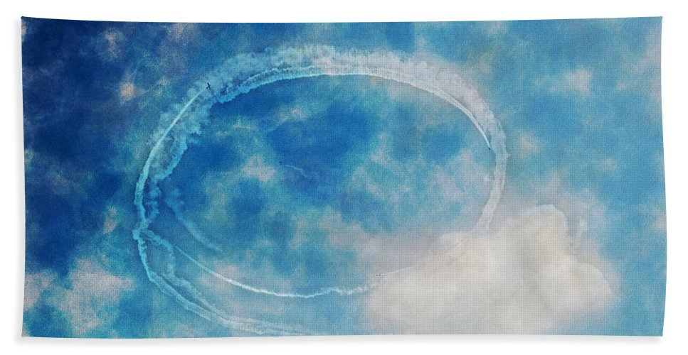 Chicago Hand Towel featuring the digital art 0036 - Air Show - Traveling Pigments Hp by David Lange
