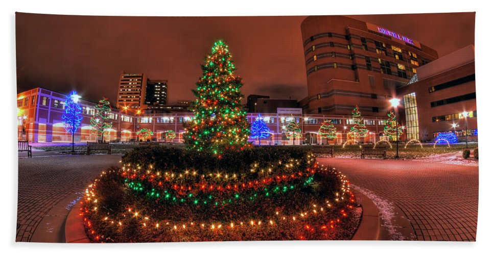 Hand Towel featuring the photograph 004 Christmas Light Show At Roswell Series by Michael Frank Jr