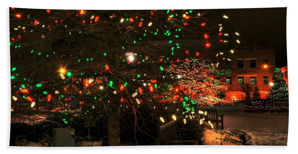 Hand Towel featuring the photograph 007 Christmas Light Show At Roswell Series by Michael Frank Jr