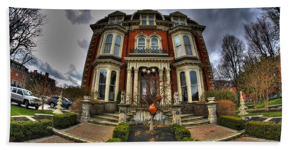 Michael Frank Jr Bath Sheet featuring the photograph 008 Mansion On Delaware Ave by Michael Frank Jr