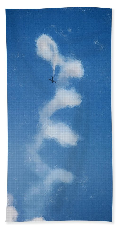 Chicago Hand Towel featuring the digital art 0107 - Air Show - Color Drawing by David Lange