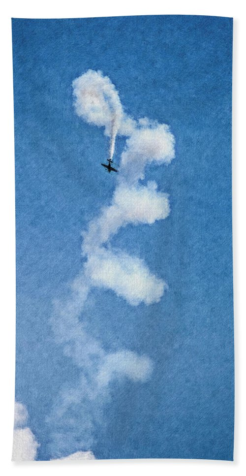 Chicago Hand Towel featuring the digital art 0107 - Air Show - Pastel Chalk 2 Hp by David Lange