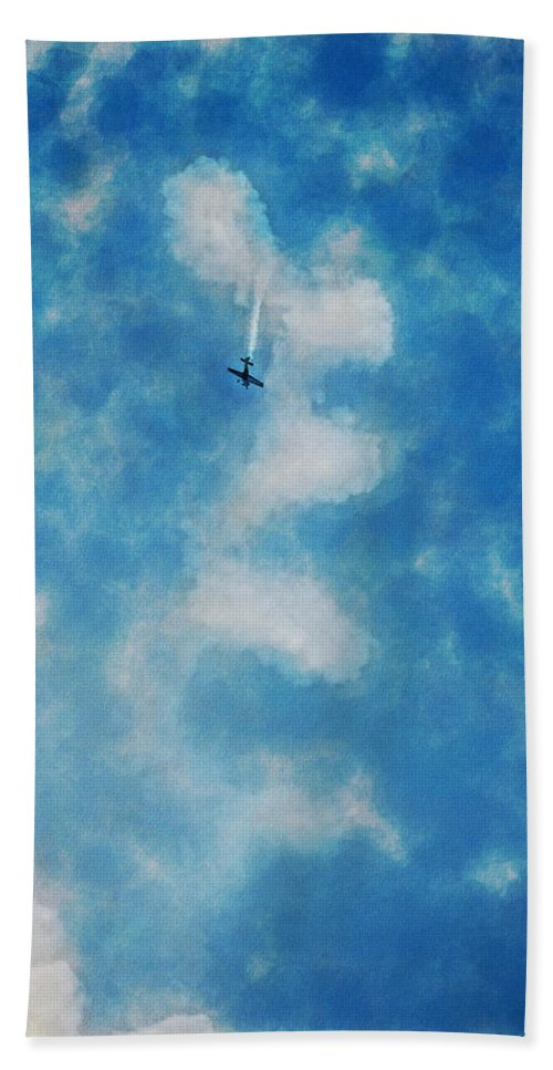 Chicago Hand Towel featuring the digital art 0107 - Air Show - Traveling Pigments Hp by David Lange