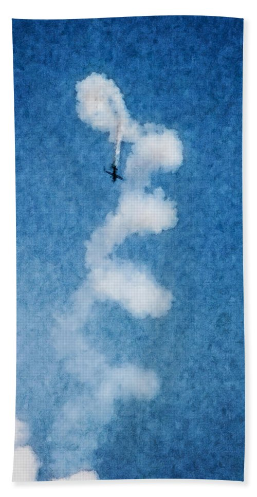 Chicago Hand Towel featuring the digital art 0107 - Air Show - Watercolor 1 by David Lange