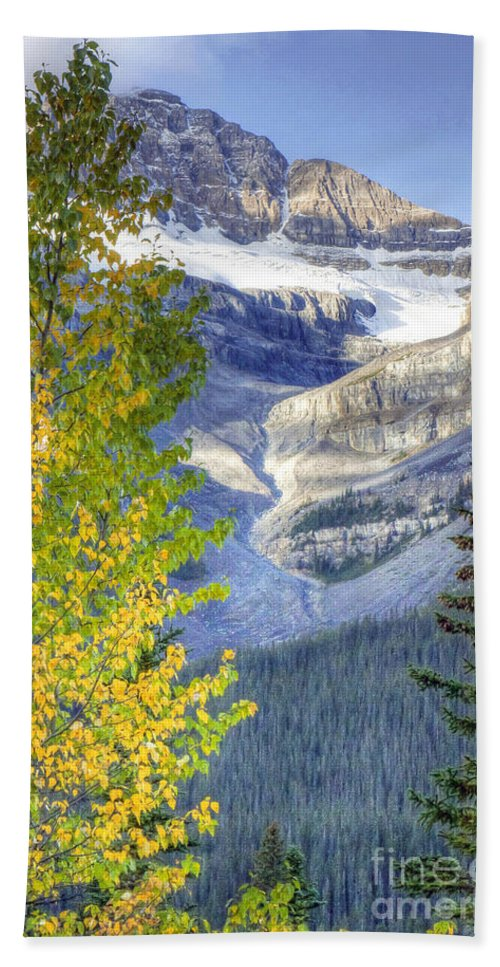 Larch Bath Sheet featuring the photograph 0141 Fall Colors On Icefield Parkway by Steve Sturgill