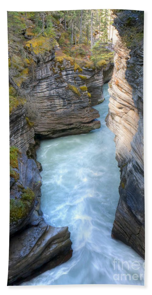 Athabasca Bath Sheet featuring the photograph 0142 Athabasca River Canyon by Steve Sturgill