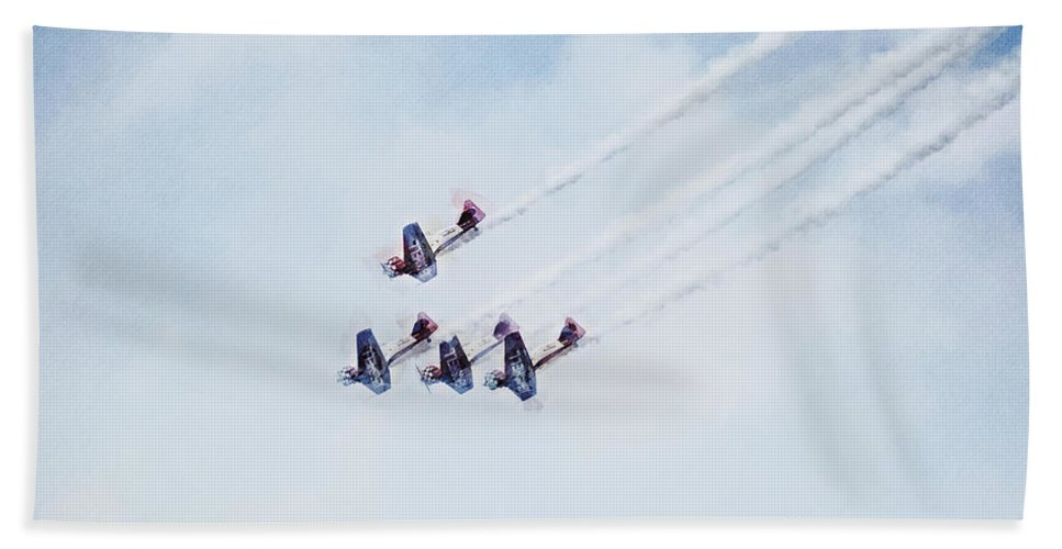 Chicago Hand Towel featuring the digital art 0161 - Air Show - Neo Hp by David Lange