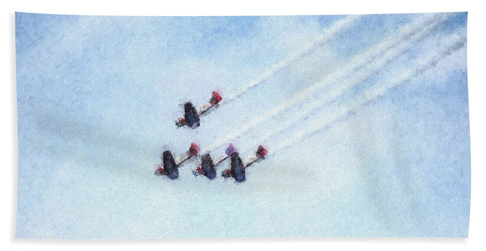 Chicago Hand Towel featuring the digital art 0161 - Air Show - Pastel Chalk 2 by David Lange