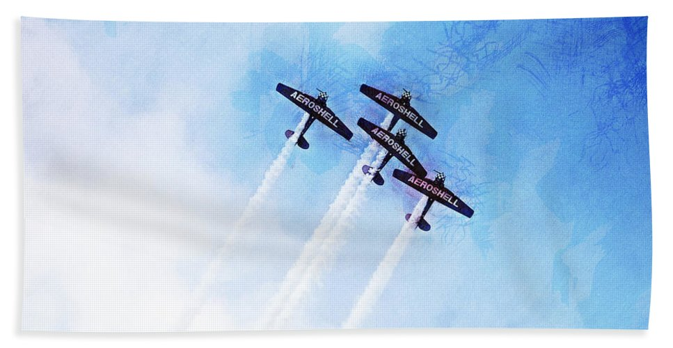 Chicago Hand Towel featuring the digital art 0166 - Air Show - Lux by David Lange