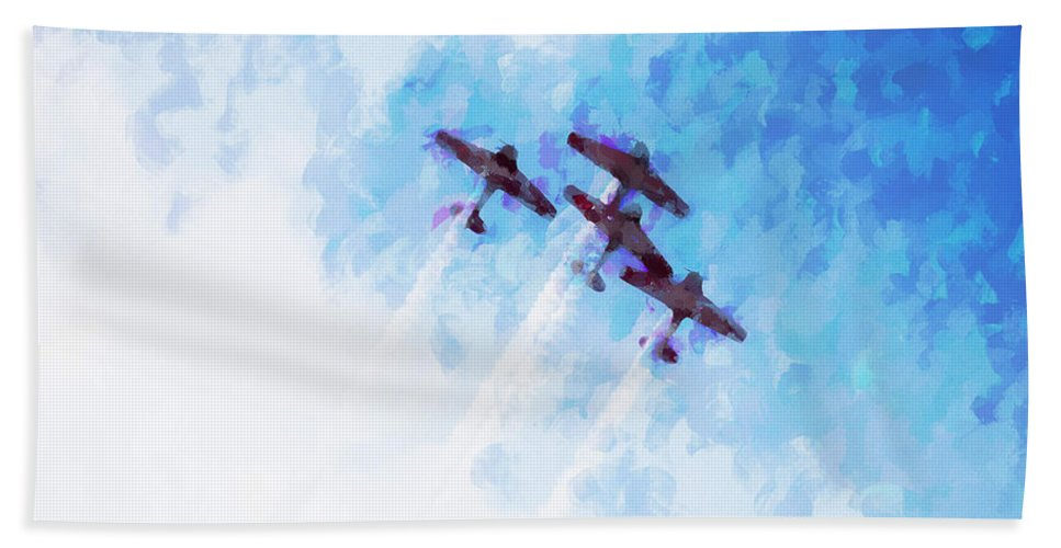 Chicago Hand Towel featuring the digital art 0166 - Air Show - Oil Stain by David Lange