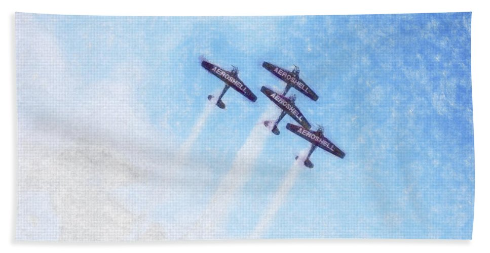 Chicago Hand Towel featuring the digital art 0166 - Air Show - Synchro by David Lange