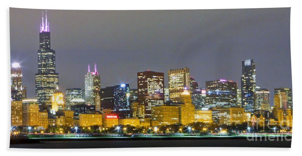 Chicago Bath Sheet featuring the photograph 0247 Chicago Skyline Panoramic by Steve Sturgill