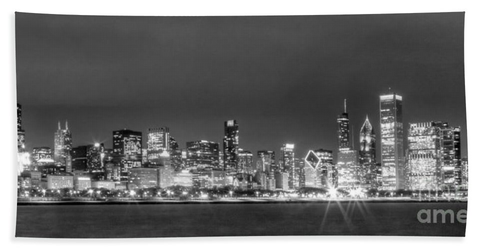 Chicago Bath Sheet featuring the photograph 0248 Chicago Skyline Panoramic by Steve Sturgill