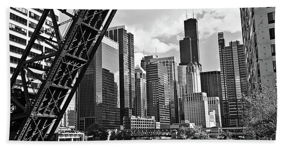 Chicago Bath Sheet featuring the photograph 0365 North Branch Chicago River Black And White by Steve Sturgill