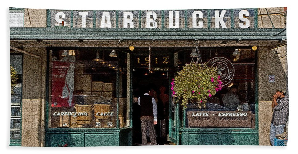 Coffee Bath Sheet featuring the photograph 0370 First Starbucks by Steve Sturgill