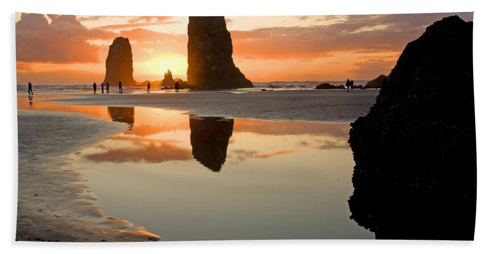 Cannon Bath Sheet featuring the photograph 0385 Cannon Beach Reflection by Steve Sturgill