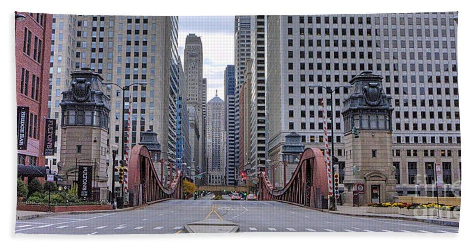 Chicago Bath Sheet featuring the photograph 0525 Lasalle Street Bridge Chicago by Steve Sturgill