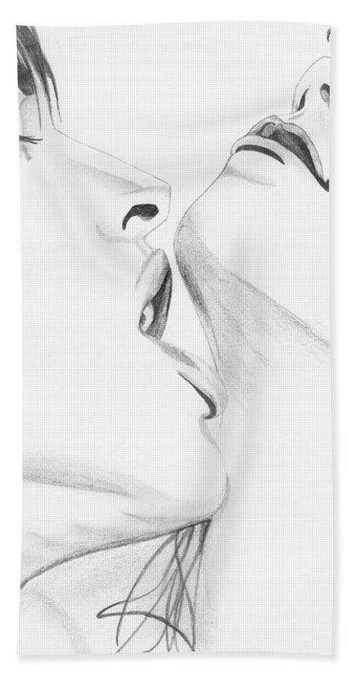 Erotic Hand Towel featuring the drawing 054 by Anthony Seeker